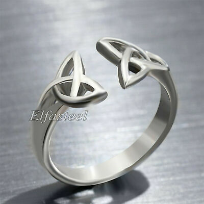 Women's Girl's Silver Trinity Triquetra Celtic Fashion Stainless Steel Ring