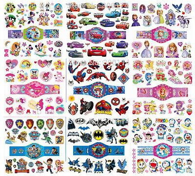CARTOON Kids Temporary Tattoos, Great for Party Bags,  Size Sheet 11.5 x 12,5