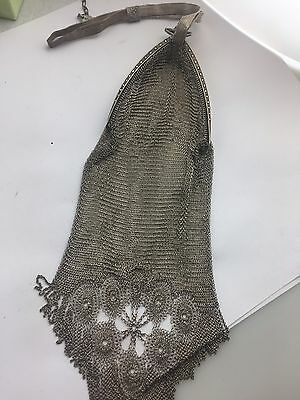 Antique 1920 Art Deco Whiting Davis Soldered Mesh Chain Bag