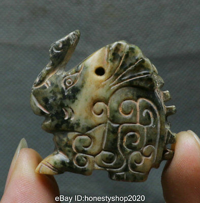 40MM Ancient Chinese Old Green Jade Carved Fengshui Zodiac Rabbit Animal Statue