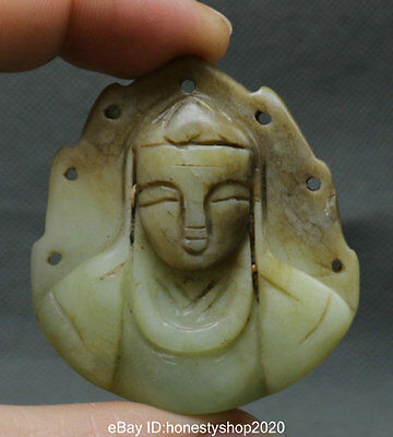 Antique Chinese Old Green Jade Carved Guanyin Boddhisattva Head Amulet Pendant