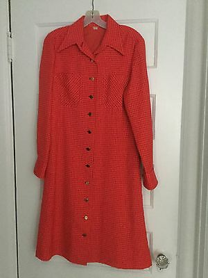 Vintage 60's women's long sleeve dress, 12 ?, Lined, Red With Black