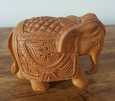 Wood Elephant Figure Sculpture Hand Carved Art of India
