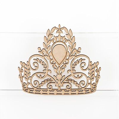 Wooden MDF Princess Prince Crown Shape 3mm Thick Embellishment Decoration Craft