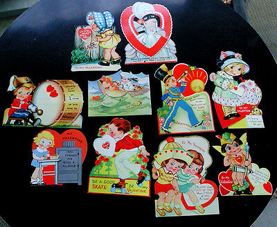 Lot of 10 Vintage Valentine Cards 1930's? Mechanical Made in USA
