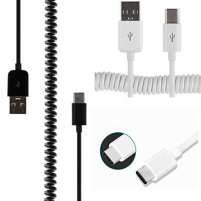 1M USB-C USB 3.1 Type C Spring Coiled Fast Charge Cable Data Sync For LG Huawei