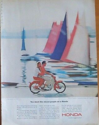 HONDA 1964 SCOOTER MOTORCYCLE Print Ad 1960's Vintage Advertisement Riding
