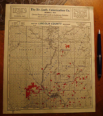 Antique The Luth Ev. Colonization Co. Merrill Wisconsin MAP