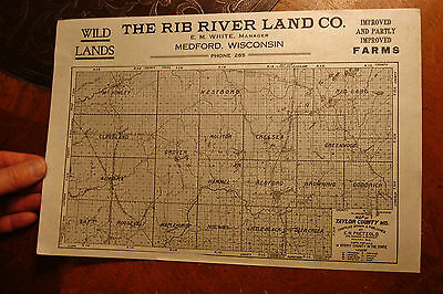 antique MEDFORD Wisconsin Wild Lands adversting MAP Rib River Land CO.