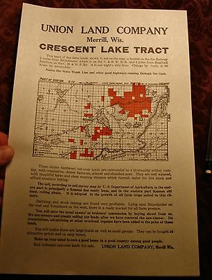 OLD RHINELANDER WI CRESENT LAKE Union Land Co MAP