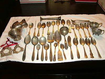 39 Pc Mixed Lot Vintage Silver PlateNickle Silver Flatware +  For Crafts Scrap