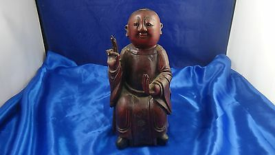 Antique Unusual Smiling Seated Monk, Elder, Buddha Carved Wood Polychrome