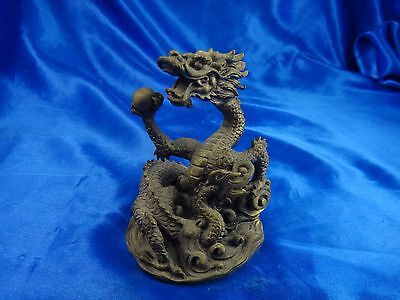 Antique Vintage Asian Chinese Brass Dragon Figure Statue 2 3/4""