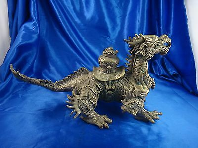Antique Vintage Asian Chinese Brass Copper Dragon Statue 13""