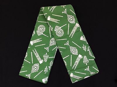 Authentic Japanese green hanhaba obi for men, imported from Japan, used (H1215)