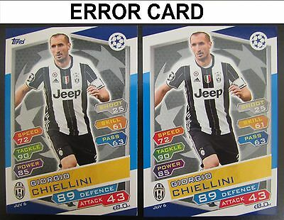 Champions League 16/17 ERROR CARD JUV6 Chiellini Juventus Match Attax 2016/2017