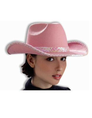 Adult Womens Pink Sequin Trim Cowboy Hat with Hatband