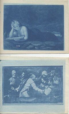 Set Of Two Cyanotype Photos Of Renaissance Paintings