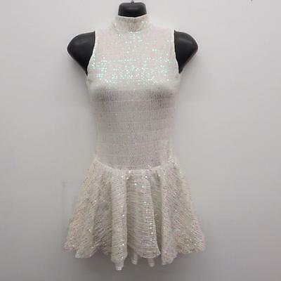 Dance Costume Small Adult White Sequin Dress Lyrical Ballet Solo Competition