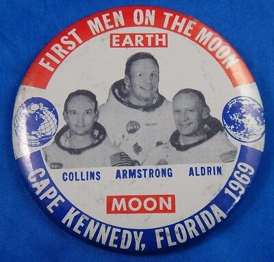 """First Men On The Moon 1969 Armstrong Collins Aldrin Pin Pinback Button 3 1/2"""""""