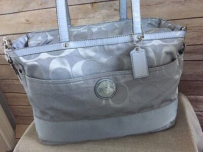 New COACH Signature Large Silver/Gray Diaper Baby Bag Tote F17443 Multifunction