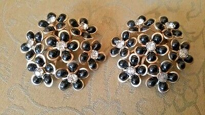 LARGE Vintage Clip Earrings Group of Black Flowers w/ Clear Rhinestone Centers
