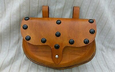 Leather Belt Pouch Brown with Black Metal Spots SCA Larp