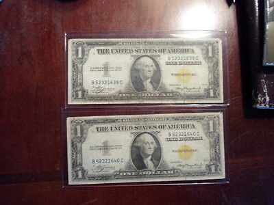 lot of 2 1935A one dollar consecutive north africa silver certificates