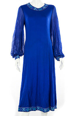 Bessi Vintage 60s Silk Floral Trim Cobalt Blue Belted Dress, Size 12
