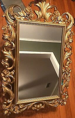 "Vintage Ornate Mid Century Hollywood Regency Gold Wall Mirror 19"" x 30"" Homco"