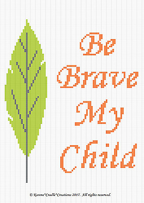 Crochet Pattern BE BRAVE MY CHILD w//FEATHER Baby WOODLAND Afghan Pattern