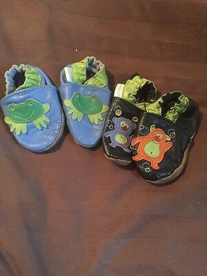 Boys Robeez 6-12 Months Lot Pair Frogs Monsters