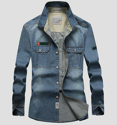100% Cotton  Men Jeans Shirt Denim Jeans casual Long-Sleeve Shirt High Quality
