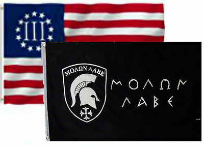 3x5 3'x5' Wholesale 2 Flag Combo Betsy Ross Nyberg III & Molon Labe Flags