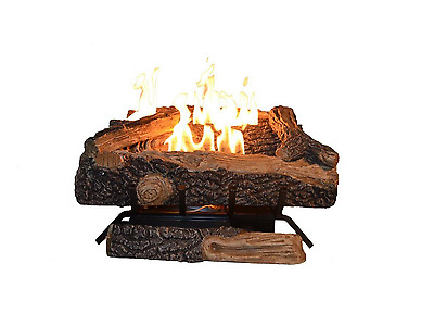 24 in Oak Fireplace Logs Propane Gas 39000 BTU Log Fire Vent Free Burner LPG