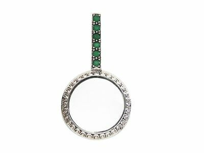 Natural Emerald Magnifying Glass Pendant 925 Sterling Silver Hallmarked