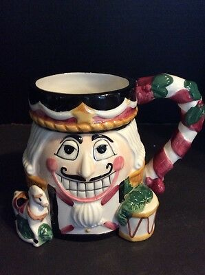 Tis the Season Nutcracker Ceramic Christmas Holiday Cup Mug Planter 18 Ounce