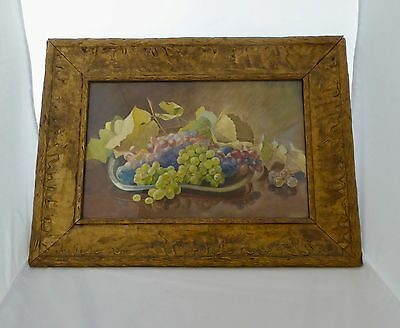GRAPES +LEAVES Still Life Watercolor by F. W. KOLDE(1871-1958).Signed/Dated 1908