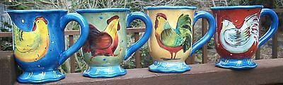 4 Pc Set  Certified International Susan Winget Country Collage Mugs 4 3/4 inches