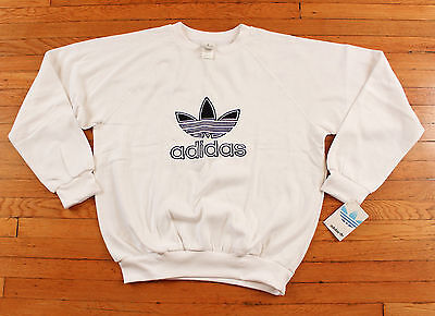 ViNtAgE 90s ADIDAS Deadstock Sweatshirt White Sweater Embroidered Navy Trefoil L