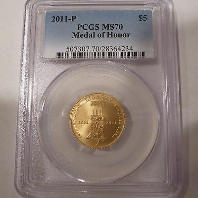 2011-P Us $5 Gold Commemorative Medal Of Honor Coin Pcgs Ms70