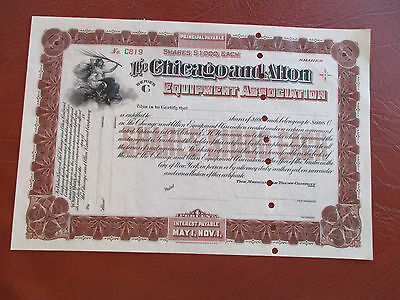 Vintage Chicago And Alton Stock Certificate Unused