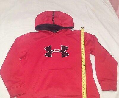 Under Armour Pull Over Hoodie Youth Large Kids  Red Black
