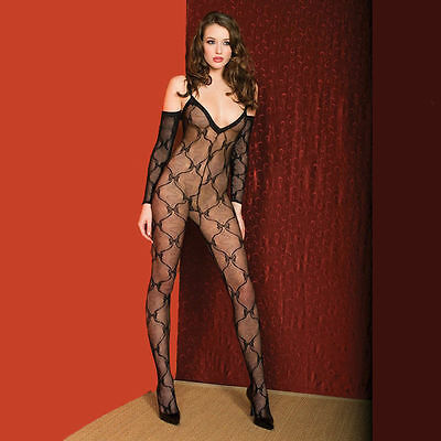 One Size Regular Black Bow Lace Bodystocking Lingerie  ML1271