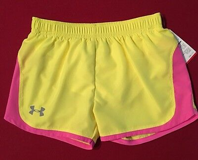 NWT Under Armour Girls Shorts Size 6 Yellow Pink 27525005-70