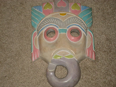 Hand Carved Solid Wood Indian Mask Wall Hanging