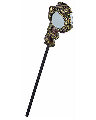 Adults Witch And Wizard Serpent Crystal Ball Staff Costume Accessory