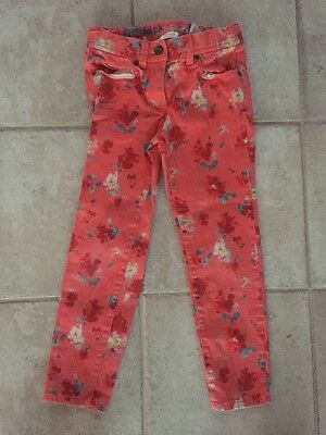 EUC Crewcuts J Crew Girls Floral Toothpick Pink Jeans Size 8