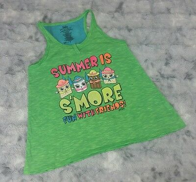 Justice Girls Size 8 Green Sleep Tank Summer is Smore Fun with Friends