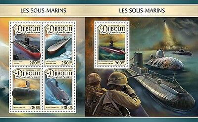 Z08 DJB16614ab DJIBOUTI 2016 Submarines MNH Mint Set